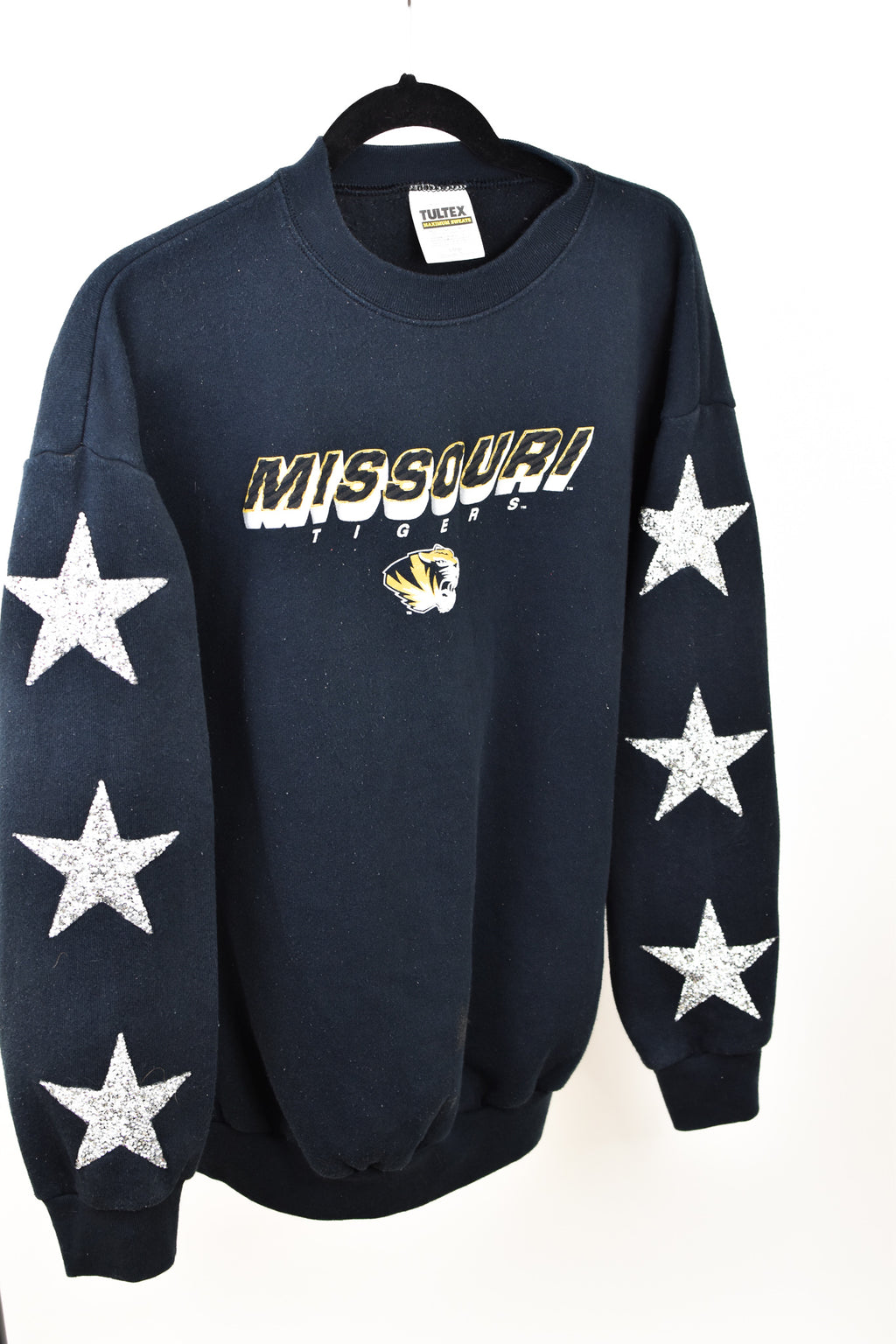 Upcycled VINTAGE University of Missouri Star Rhinestone Sweatshirt