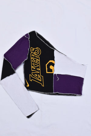 Upcycled LSU Cropped Lace Up Sweatshirt