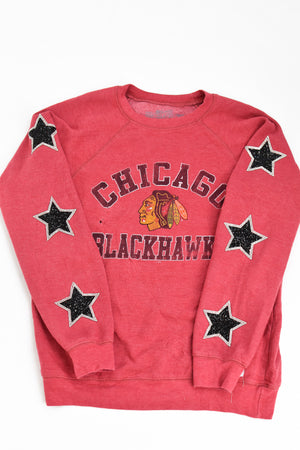 Upcycled Chicago Blackhawks Star Rhinestone Sweatshirt