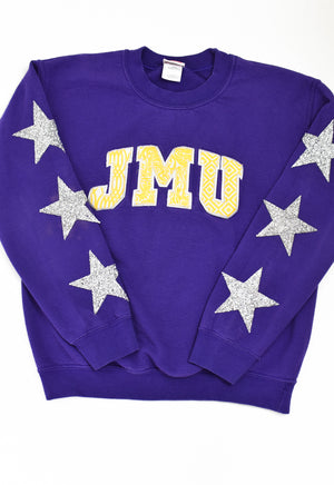Upcycled VINTAGE James Madison University Star Rhinestone Sweatshirt