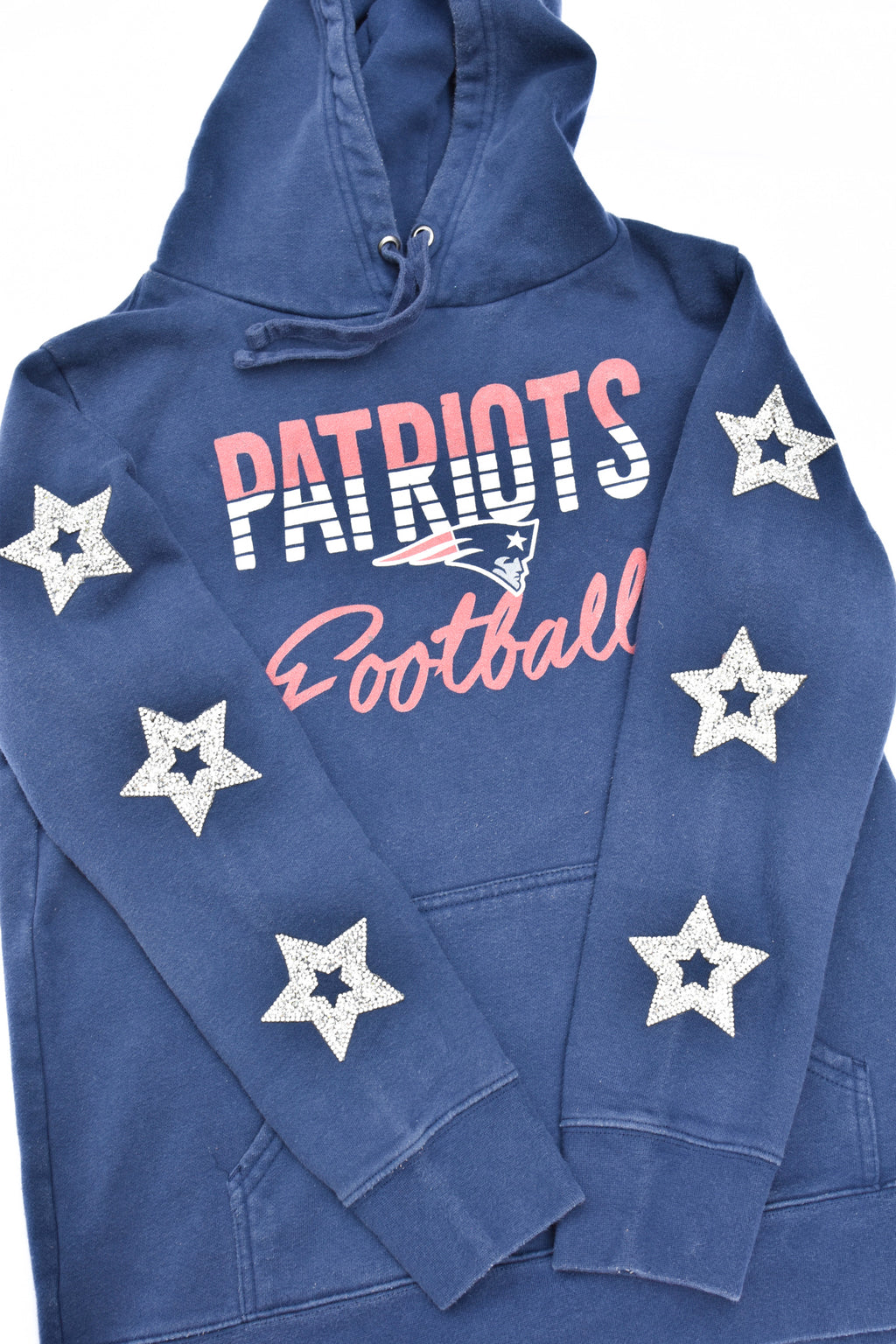 Upcycled Patriots Star Rhinestone Sweatshirt