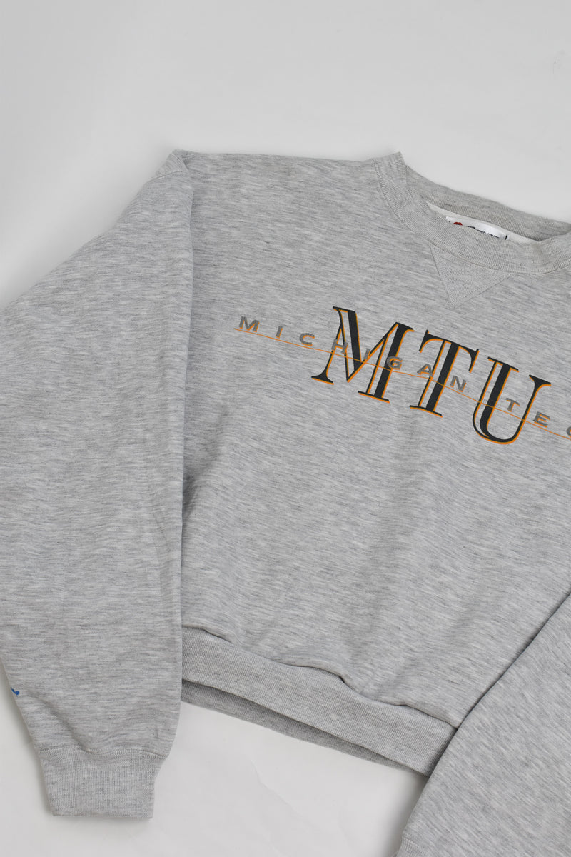 Upcycled VINTAGE Michigan Tech Cropped Sweatshirt