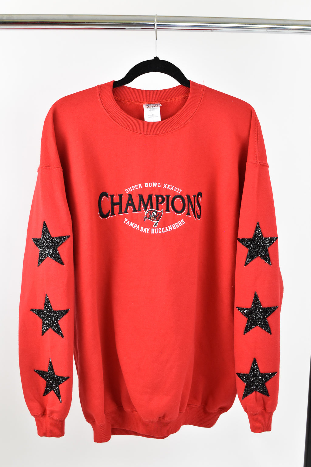 Upcycled Tampa Bay Buccaneers Star Rhinestone Sweatshirt