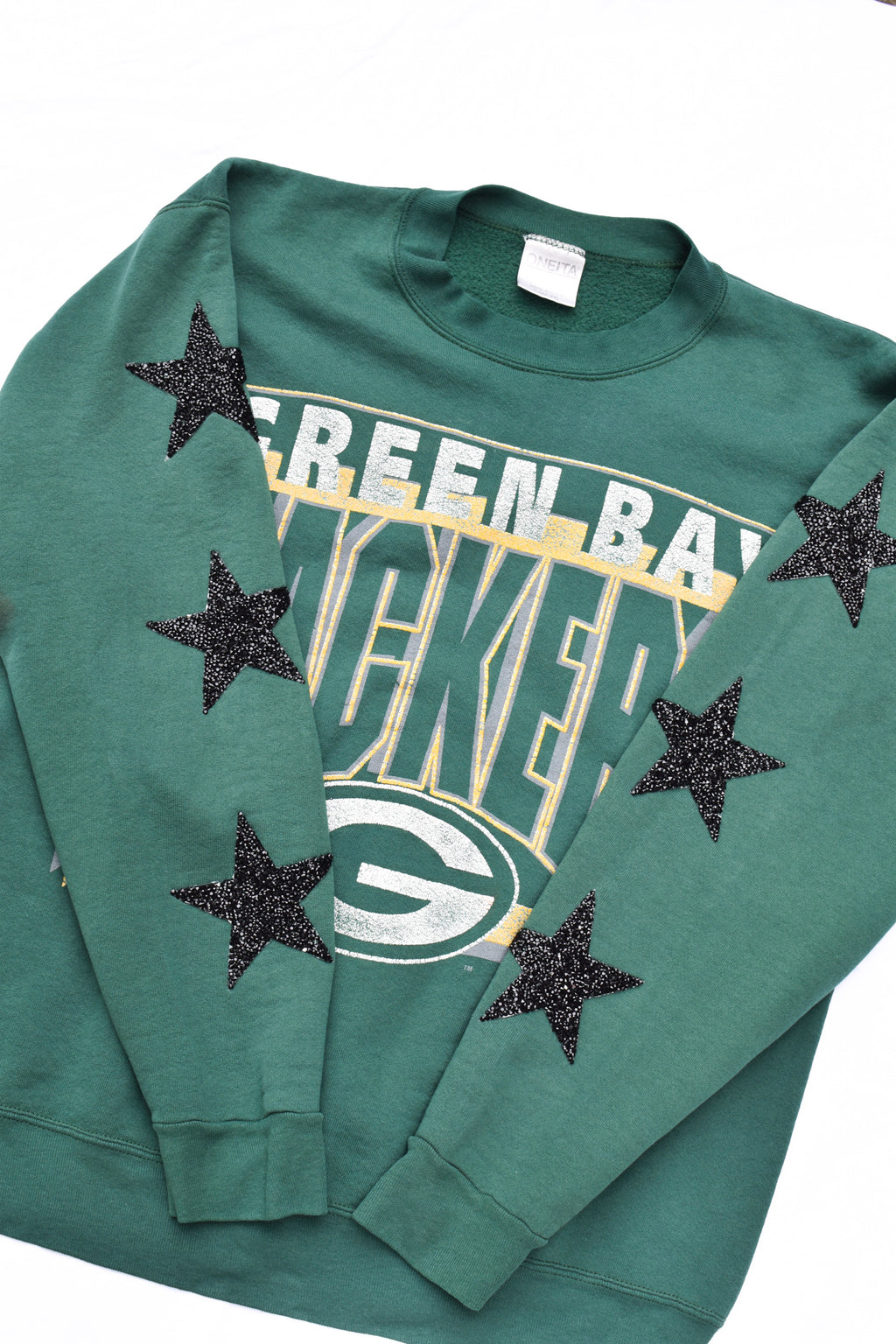 Upcycled VINTAGE Packers Star Rhinestone Sweatshirt