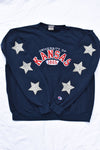 Upcycled University of Kansas Star Rhinestone Sweatshirt