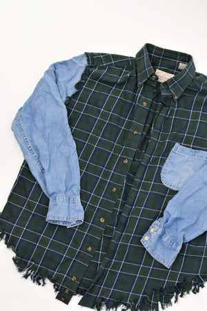 Denim x Flannel Fringe Shirt