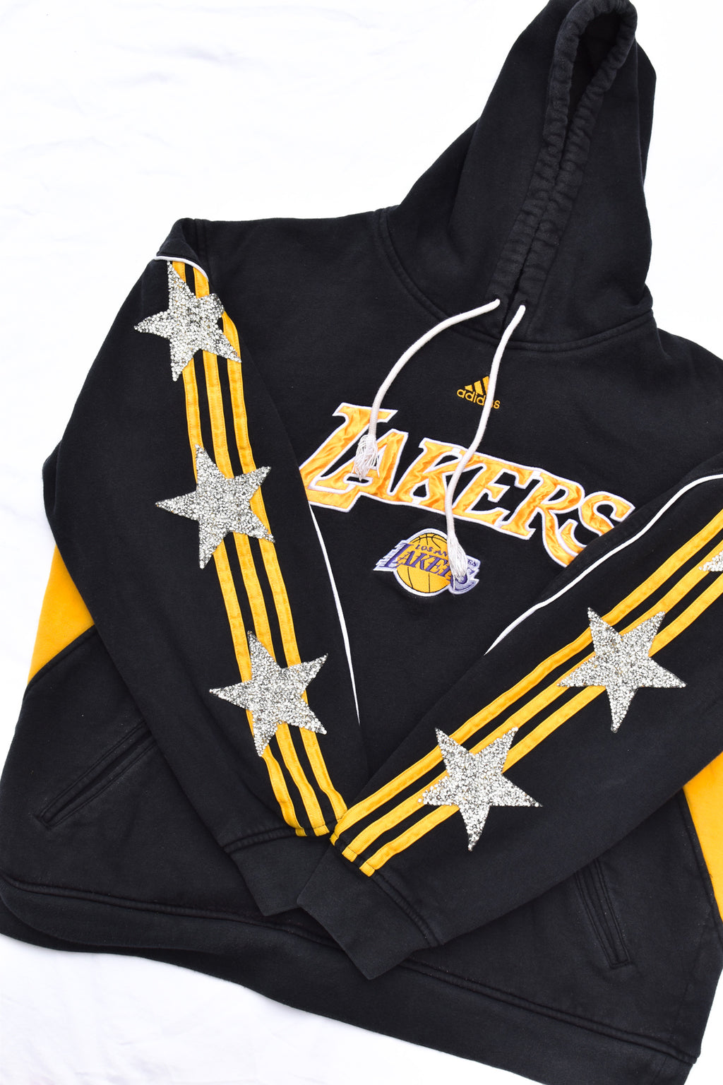 Upcycled LA Lakers Star Rhinestone Sweatshirt