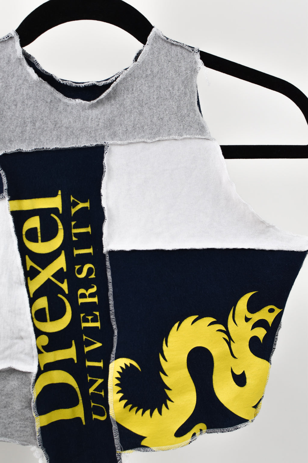Upcycled Drexel University Scrappy Top