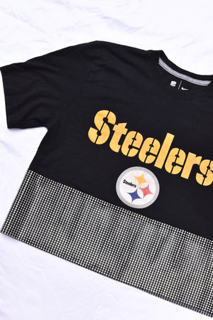 Upcycled Steelers Rhinestone Mesh Top