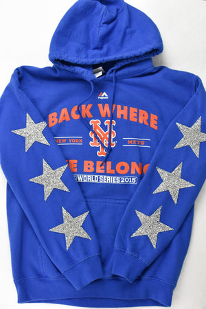 Upcycled New York Mets Star Rhinestone Sweatshirt