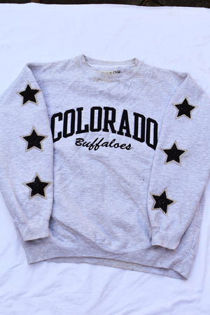 Upcycled VINTAGE Colorado Buffaloes Star Rhinestone Sweatshirt