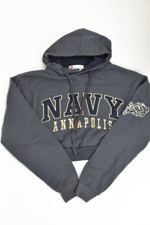 Upcycled VINTAGE Navy Cropped Sweatshirt