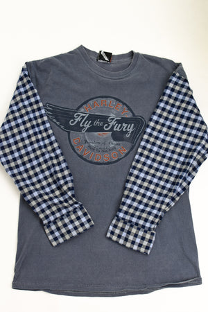 Upcycled Harley Davidson Flannel Sleeve Shirt