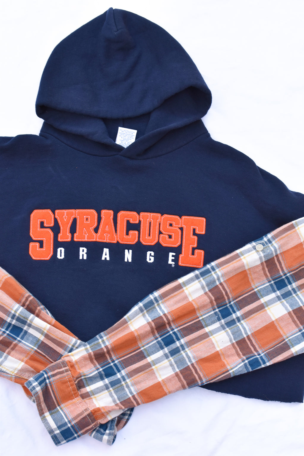 Upcycled VINTAGE Syracuse Flannel Sleeve Sweatshirt