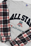 Upcycled VINTAGE Cleveland Indians Flannel Sleeve Sweatshirt