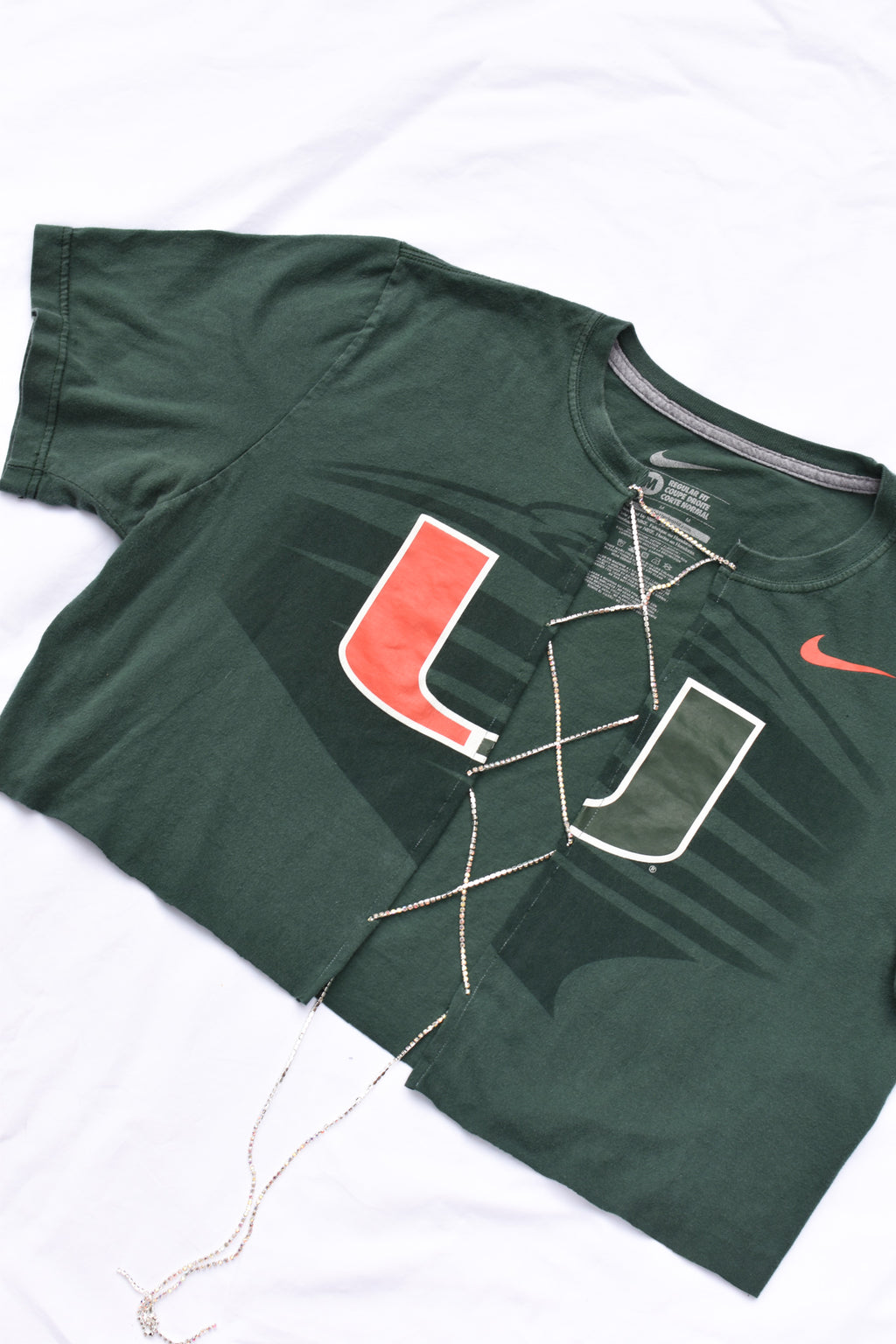 Upcycled University of Miami Rhinestone Chain Shirt
