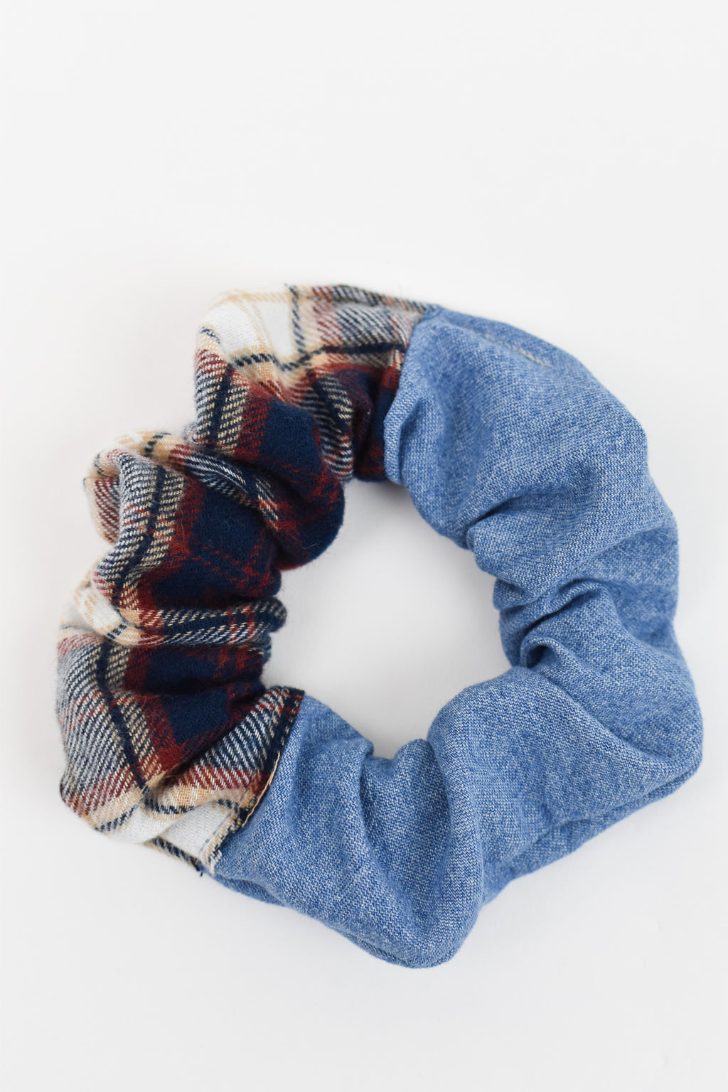 Fall Flannel and Denim Split Scrunchie