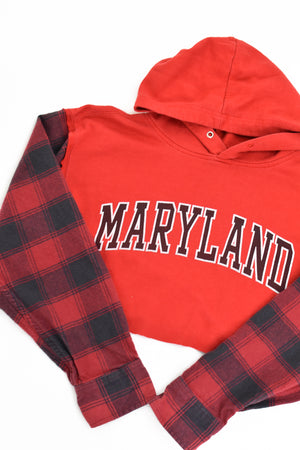 Upcycled University of Maryland Flannel Sleeve Sweatshirt
