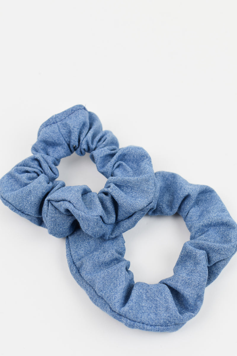 Mid-Wash Denim Scrunchie