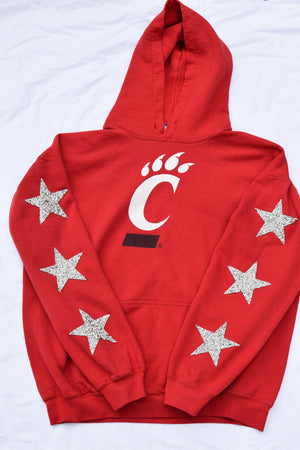 Upcycled University of Cincinnati Star Rhinestone Sweatshirt