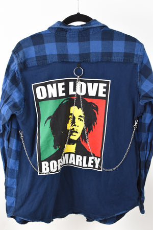 Upcycled Bob Marley Reverse Chain Rock Top