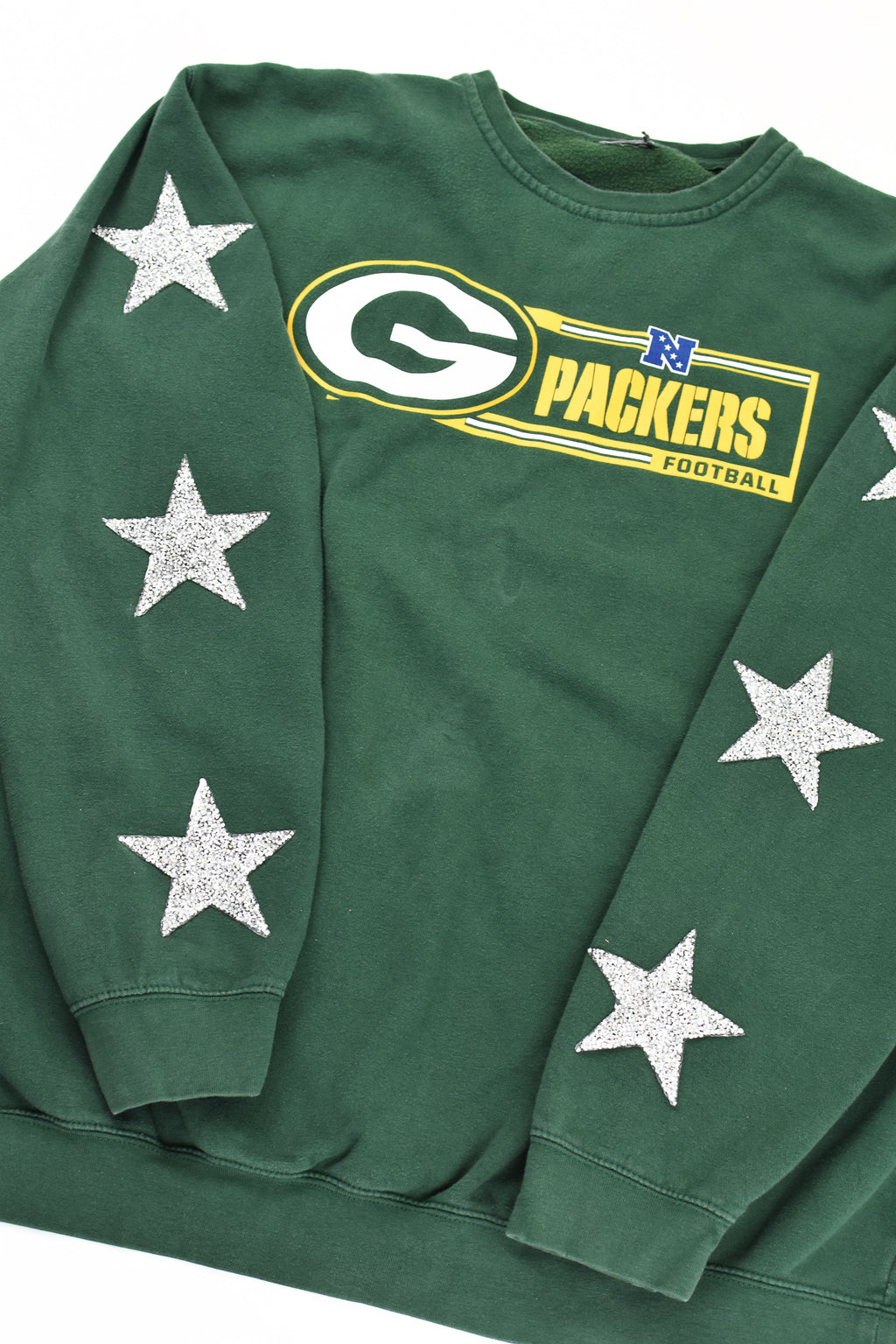 Upcycled Green Bay Packers Star Rhinestone Sweatshirt