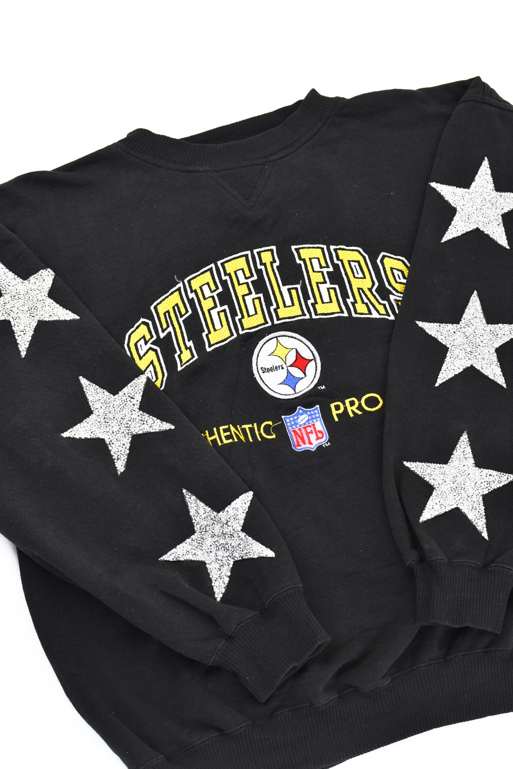 Upcycled VINTAGE Pittsburgh Steelers Star Rhinestone Sweatshirt