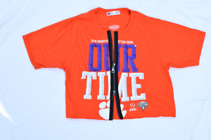 Upcycled Clemson Double Zipper SHirt