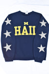 Upcycled University of Michigan Star Rhinestone Sweatshirt