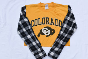 Upcycled Colorado Buffaloes Cropped Flannel Sleeve Shirt