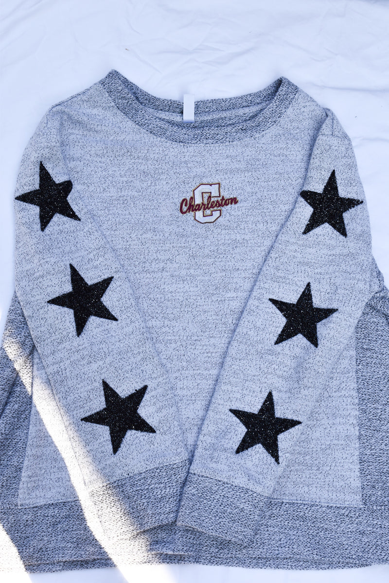 Upcycled College of Charleston Star Rhinestone Sweatshirt