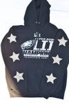 Upcycled Philadelphia Eagles Star Rhinestone Sweatshirt
