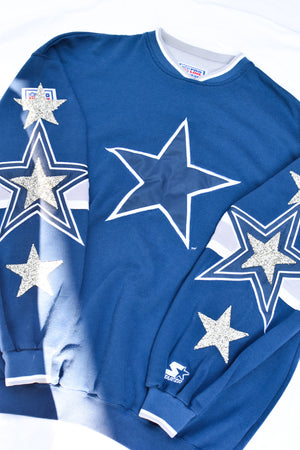 Upcycled VINTAGE Cowboys Star Rhinestone Sweatshirt