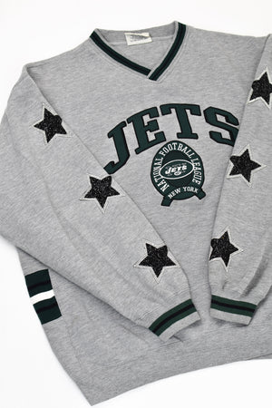 Upcycled Vintage New York Jets Star Rhinestone Sweatshirt