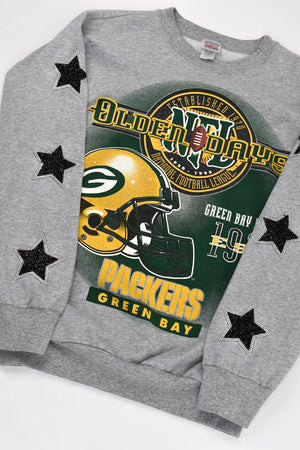 Upcycled VINTAGE Green Bay Packers Star Rhinestone Sweatshirt