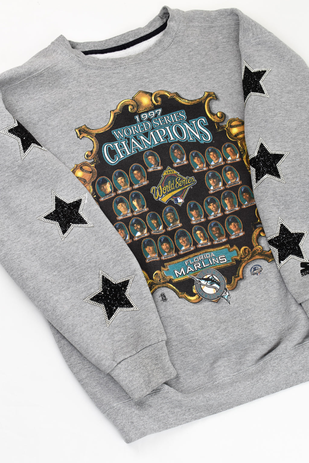 Upcycled Vintage Florida Marlins Star Rhinestone Sweatshirt