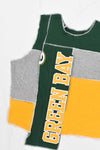 Upcycled Wisconsin Distressed Flannel Sleeve Sweatshirt