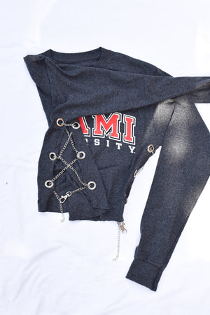 Upcycled Miami University Side Chain Shirt