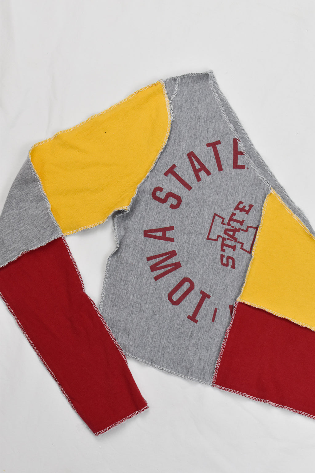 Upcycled Ohio State Distressed Flannel Sleeve Hoodie