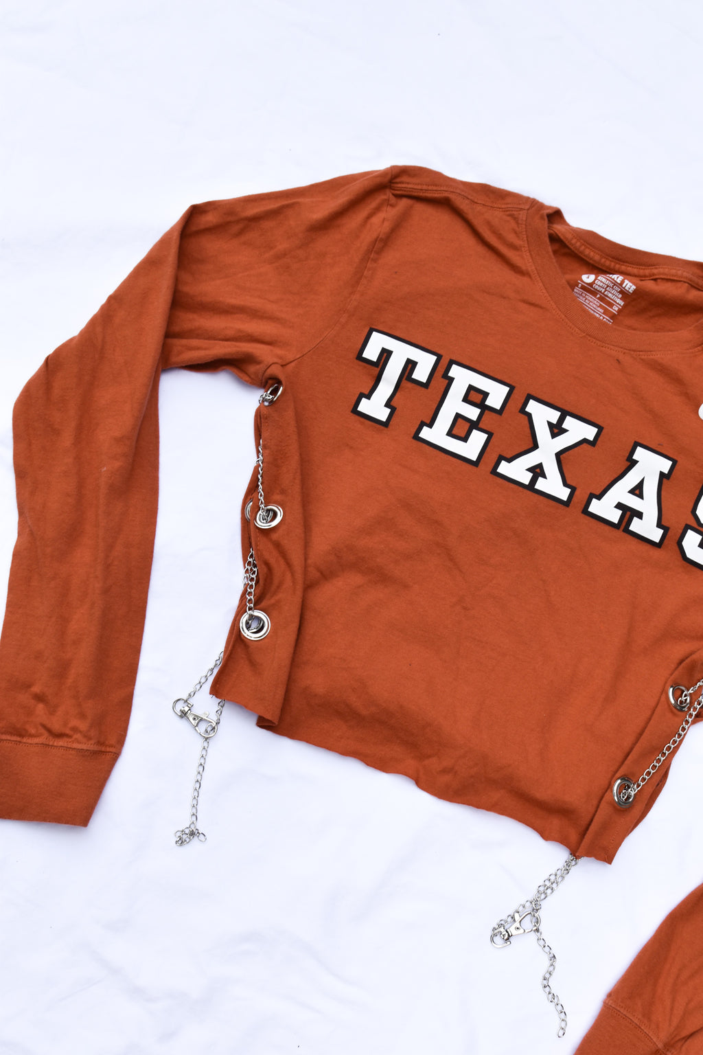Upcycled Texas Cropped Side Chain Shirt