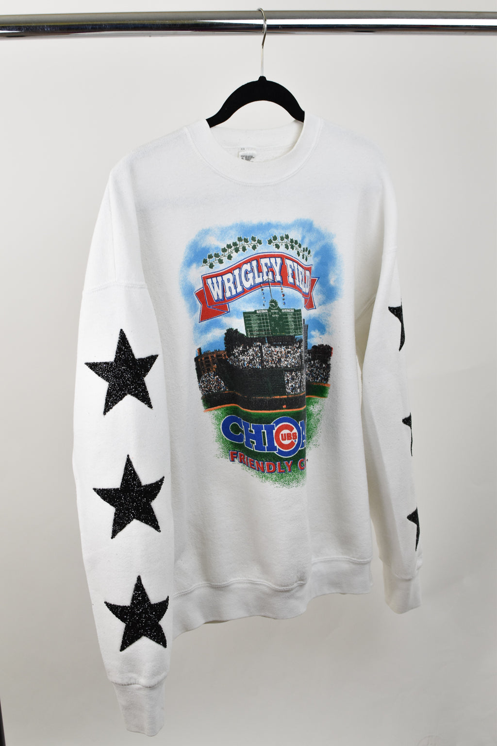 Upcycled VINTAGE Chicago Cubs Star Rhinestone Sweatshirt