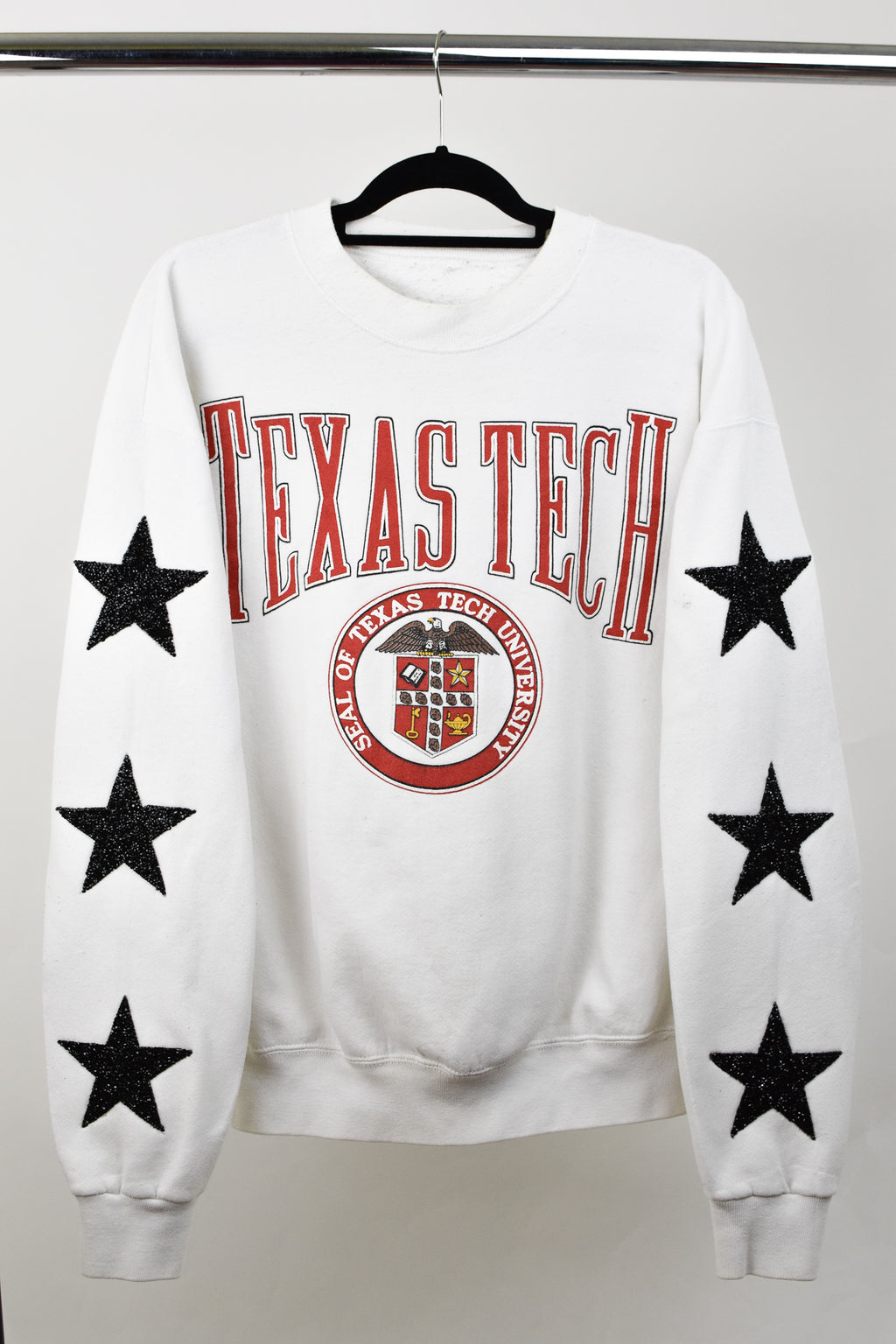Upcycled VINTAGE Texas Tech University Star Rhinestone Sweatshirt