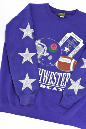 Upcycled VINTAGE Northwestern University Star Rhinestone Sweatshirt