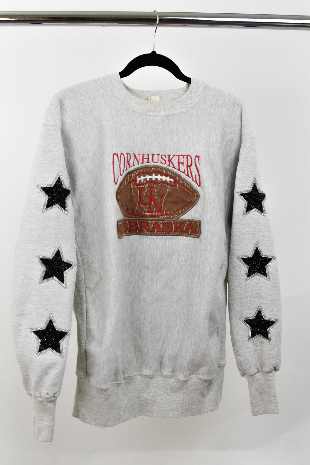 Upcycled VINTAGE University of Nebraska Star Rhinestone Sweatshirt