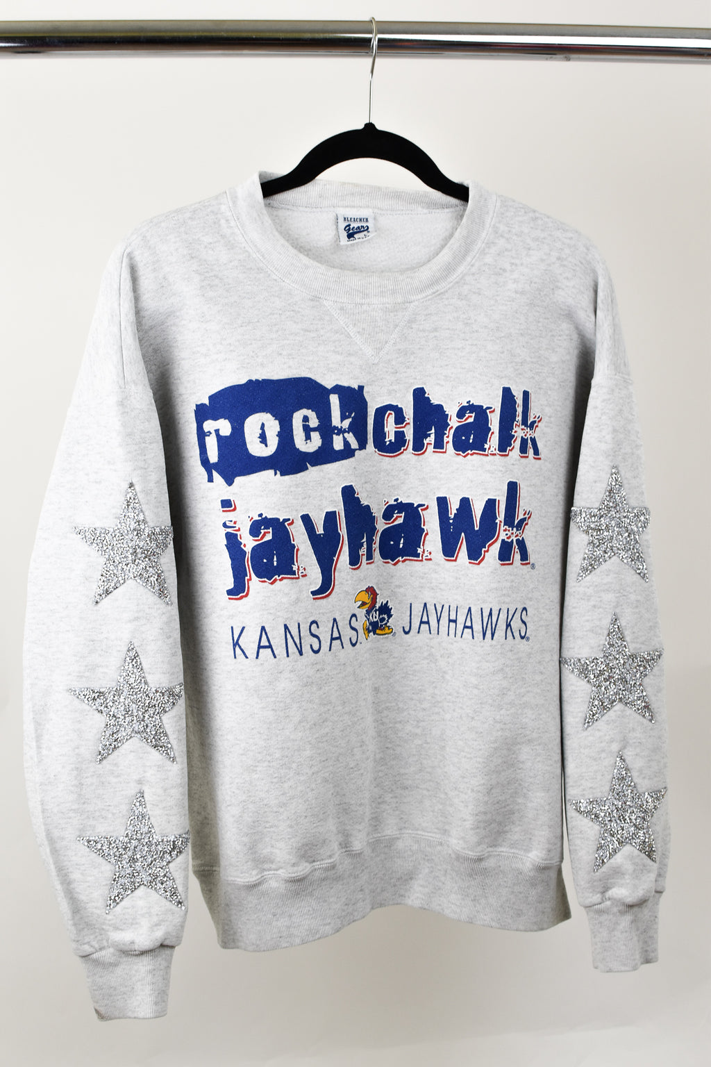 Upcycled VINTAGE Kansas University Star Rhinestone Sweatshirt