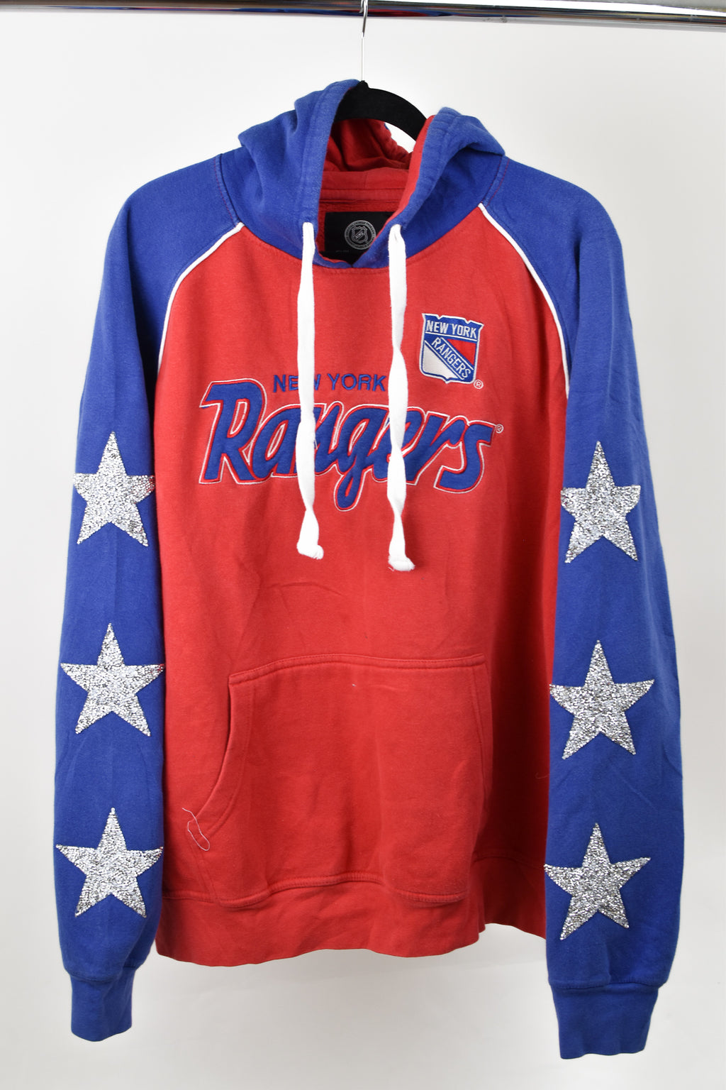 Upcycled New York Rangers Star Rhinestone Sweatshirt