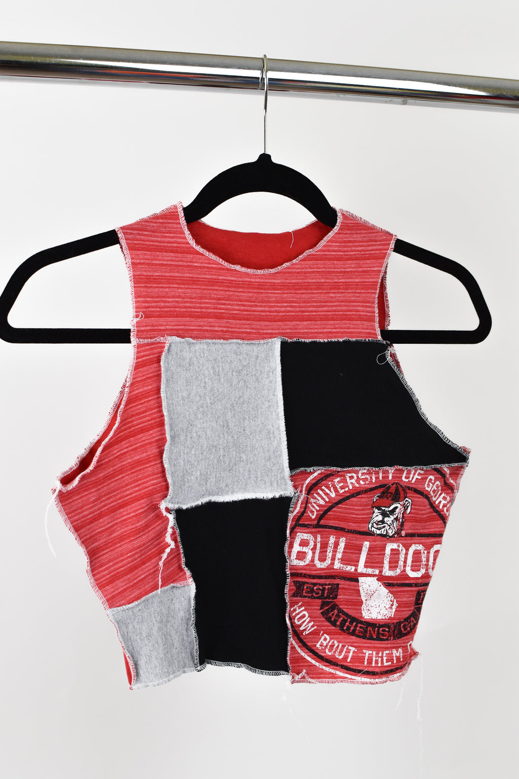 Upcycled University of Georgia Scrappy Top