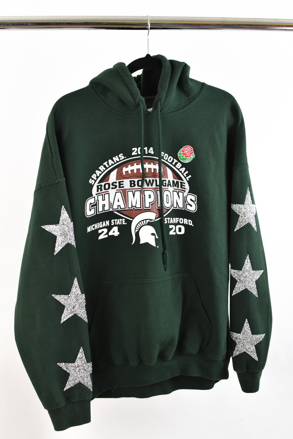 Upcycled Michigan State University Star Rhinestone Sweatshirt