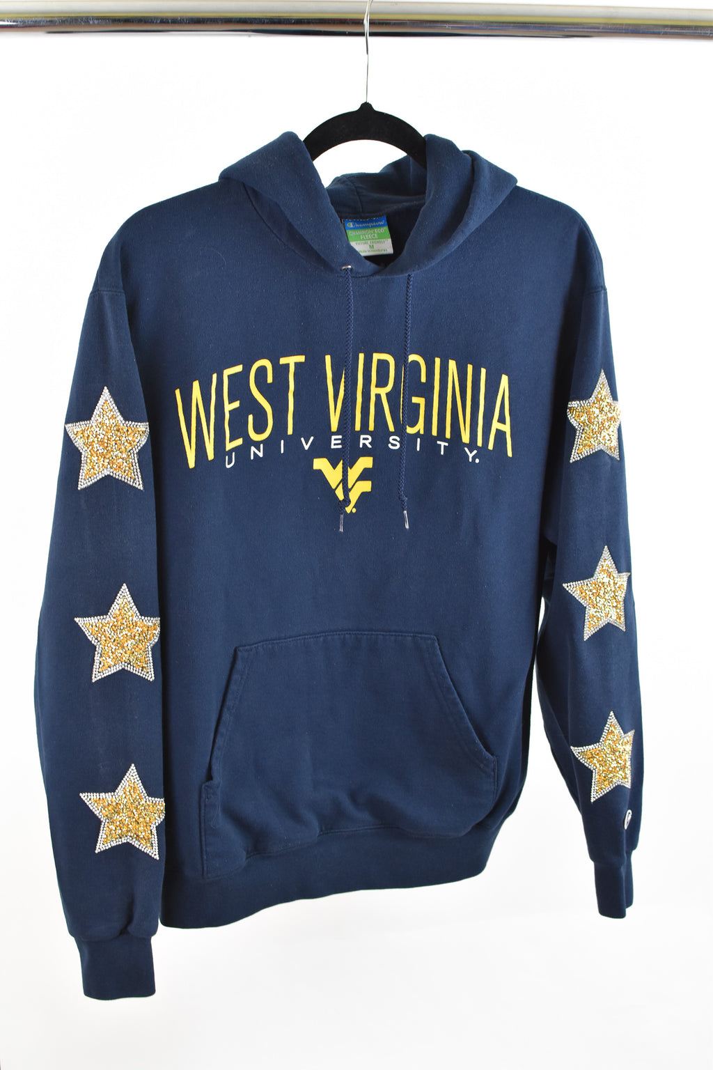 Upcycled West Virginia University Star Rhinestone Sweatshirt