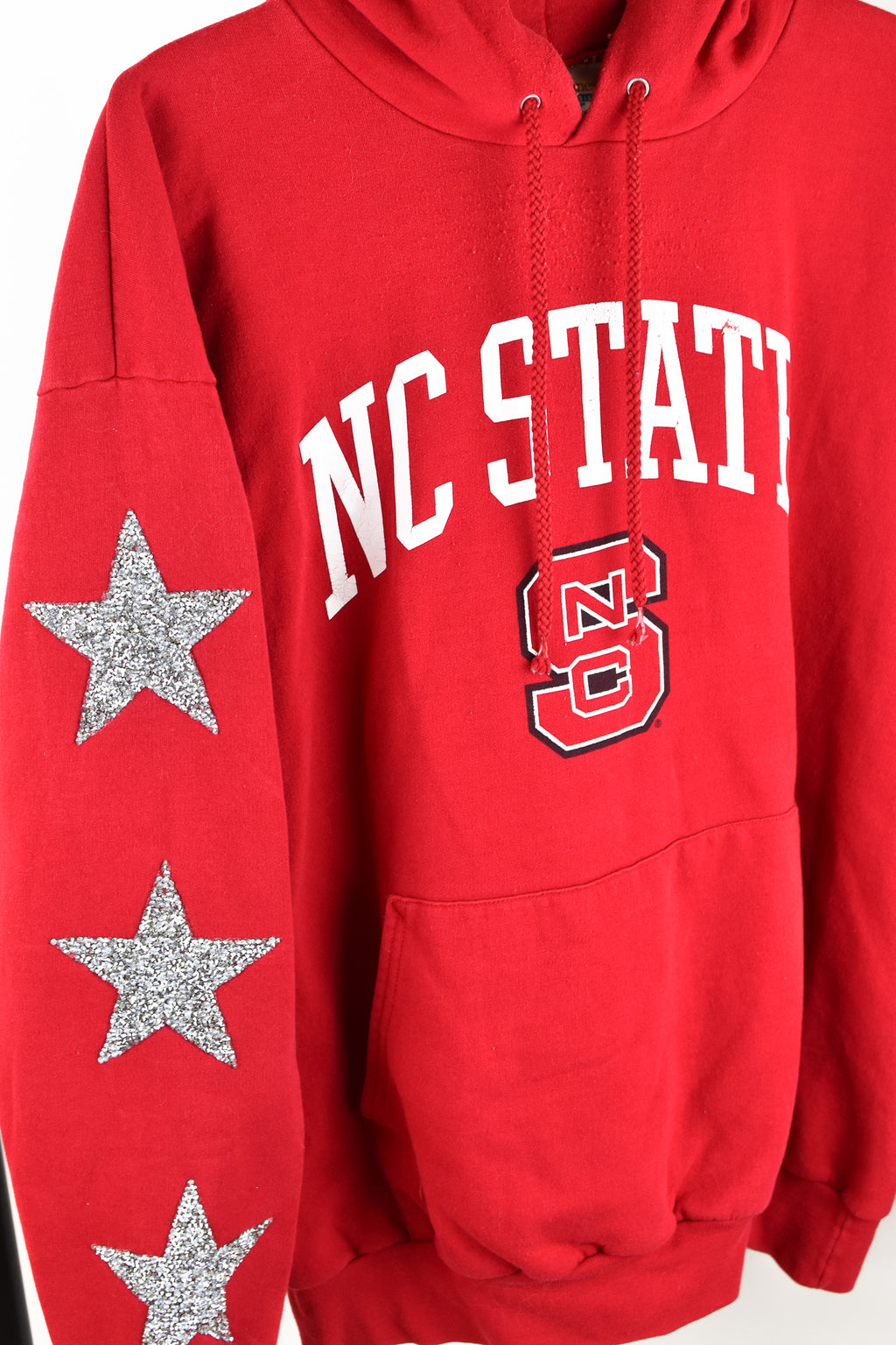 Upcycled North Carolina State University Star Rhinestone Sweatshirt
